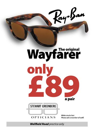 a55d2a6f1f Ray-Ban Wayfarer Sunglasses Offer - Stewart Greenberg Opticians